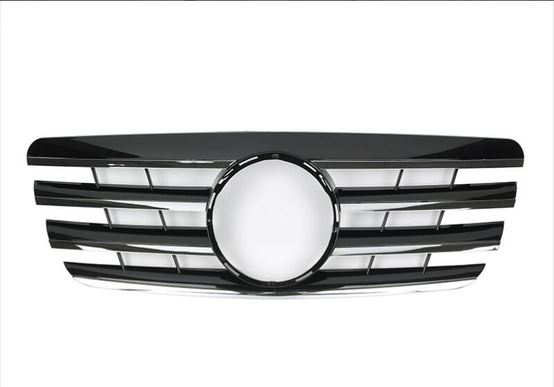 For <font><b>Mercedes</b></font>-Benz E-class <font><b>W210</b></font> 2000-2002 with Emblem CL Style black/flat black/all black/silver/chrome Front Racing <font><b>Grille</b></font> image