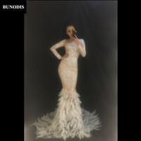 BU131 Women Long Skirt Full Of Sparkling Crystals White Feather Tail Fashion Show Nightclub Party Birthday Celebrate Bling
