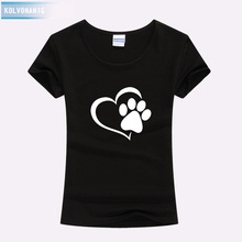 KOLVONANIG 2019 Summer Love Cat Paws Printed Women T-Shirt Cotton Casual Anime Top Tees Hipster Gray Black White Kawaii T Shirts
