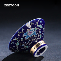 90ml Jingdezhen Ceramic Teacup Handmade Silver Lotus Hats Cup Master Cup Kung Fu Tea Set Porcelain Tea Cup Tea Bowl Home Decor