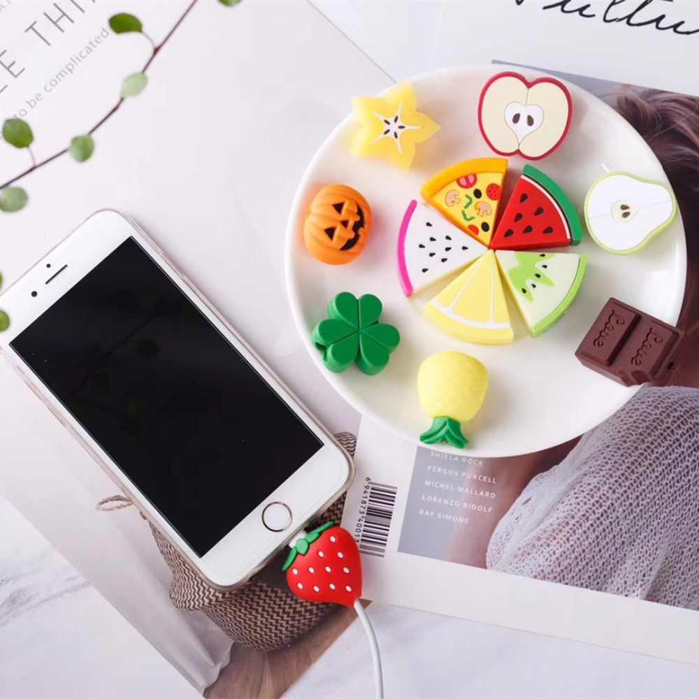 USB Data Line Protective Cover Case For iphone X XS MAX 5se 5s 6s 7 8 plus Charging Cable Cartoon Fruit Shape Phone accessories