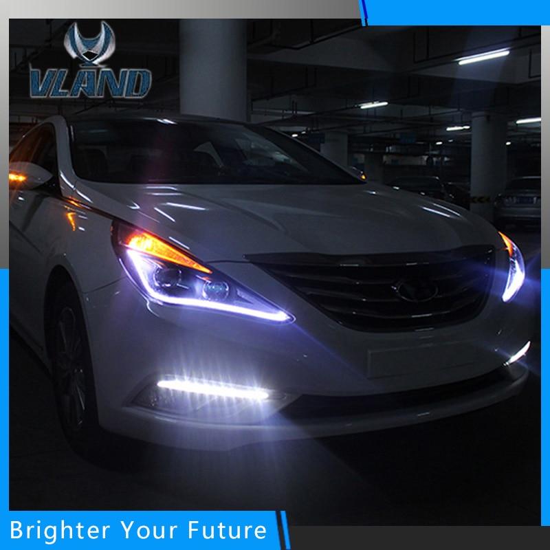 Новый фара левая правая фары для Hyundai Соната 8 светодиодные фары бар ДХО 2011-2015 Н7 Би-Ксеноновые