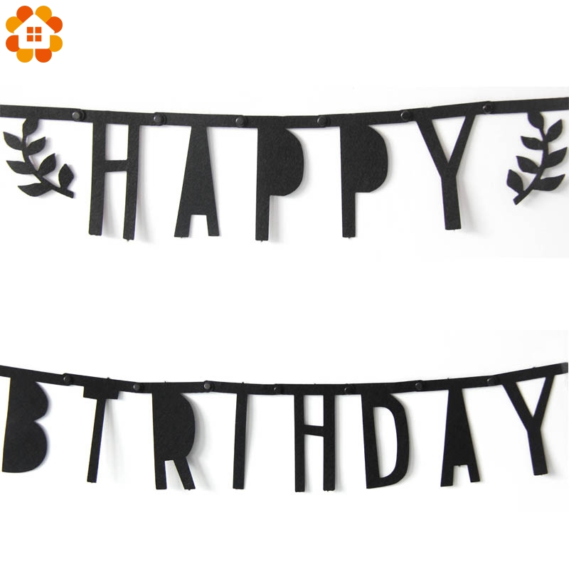 1Set Happy Birthday Black Non-wovens Flags Garland Floral Bunting Banners Letter Garlands Baby Kids Birthday Party Decorations