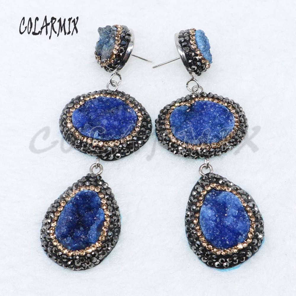 5 Pairs double druzy stone earrings mix colors stone earrings druzy jewelry earrings gift wholesale jewelry 4887-in Drop Earrings from Jewelry & Accessories    2