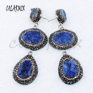 Image 2 - Pendientes de piedra drusa dobles, 5 pares, mezcla de colores, joyería con drusa, regalo, joyería 4887