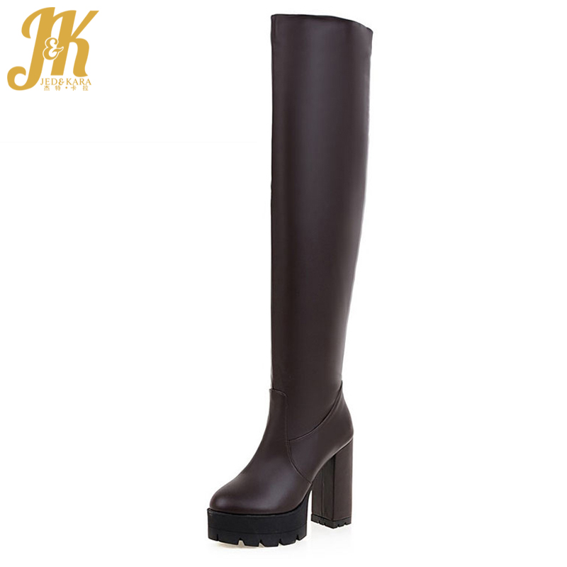 Big Size 34-43 216 Fashion Concise Over The Knee Boots Women's Winter Boots Square High Heels Platform Long Boots Shoes Woman big size 34 43 fashion rivets skid proof ankle boots square high heels platform shoes fall concise winter boots shoes woman