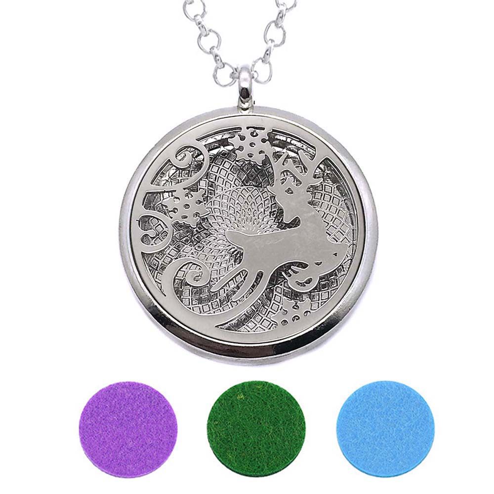 With Snake Chain 228 Christmas New arrival 30mm Perfume Essential Oils Diffuser Locket Necklace With 3 Pads Women Teenagers Gift