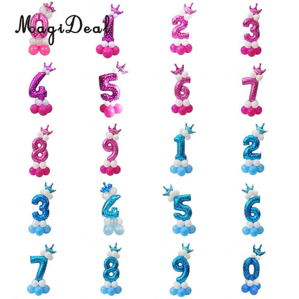 MagiDeal All Numbers 0 to 9 Prince Princess Crown Tiara Balloons Column Set Birthday Baby Shower Arch Garland Decor