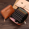 Ouliss High-capacity Zipper Organ Leather Women Card Wallet More Screens Oil Cute Wallet Cow Leather Wallet With Coin Purse