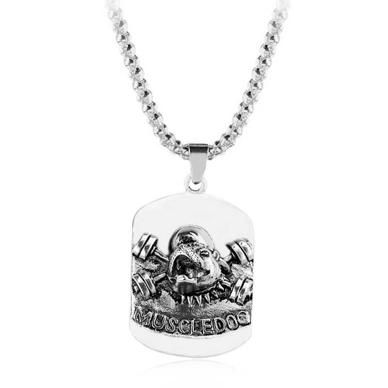 Nowy top Quality naszyjnik z psem ze stopu cynku wisiorek Gym kulturystyka naszyjnik biżuteria męska dla entuzjastów Fitness