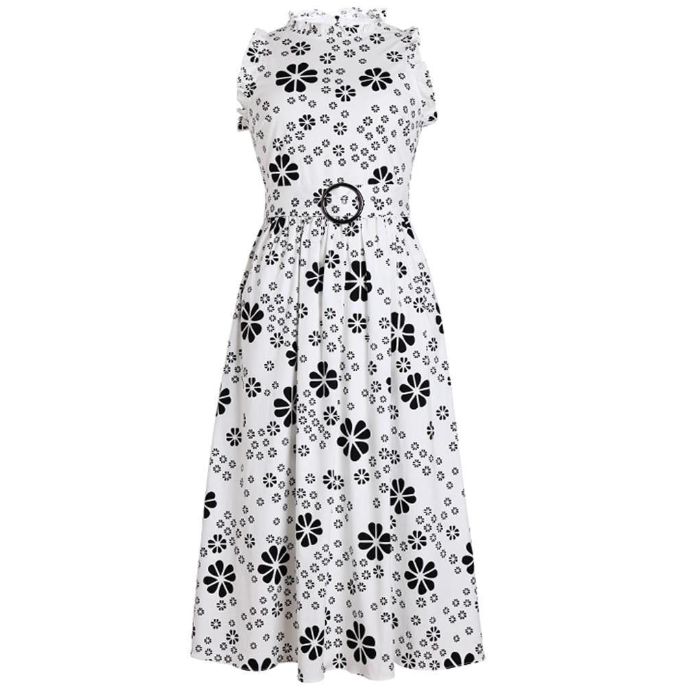 Red RoosaRosee Romantic Floral Print Sleeveless O Neck Women Summer Midi Dress 2019 Elegant Lady Party