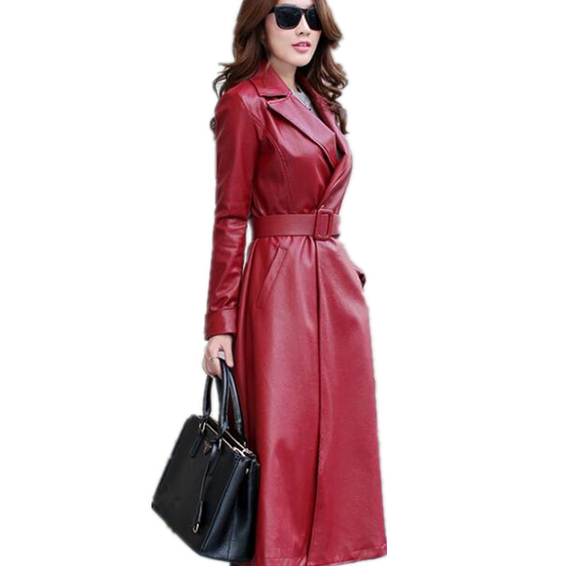 Women Elegant Pu Single-Button Waistband Long   Leather   Jacket Fashion Lady Overcoat Plus Velvet   Leather   Jacket Female TT3236