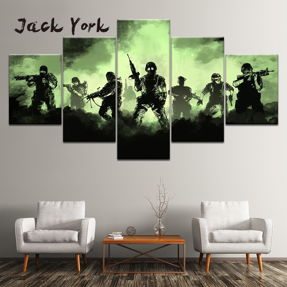 Canvas Painting Cool gaming free shipping 5 Pieces Wall Art Painting Modular Wallpapers Poster Print for living room Home Decor