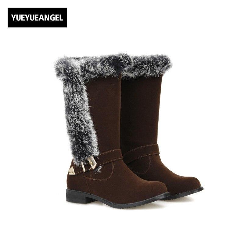 Women Elegant Bota Feminina Warm Fur Trim Winter Boots Buckle Design Faux Suede Kar Botu Snowhoes For Women Big Size Zapatos