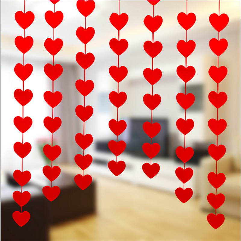 1pcs 3M (16pcs Love )Heart DIY Garland with Red Rope Charm Curtain Felt Non-woven Home Wedding Party Decoration Gift & Favor S
