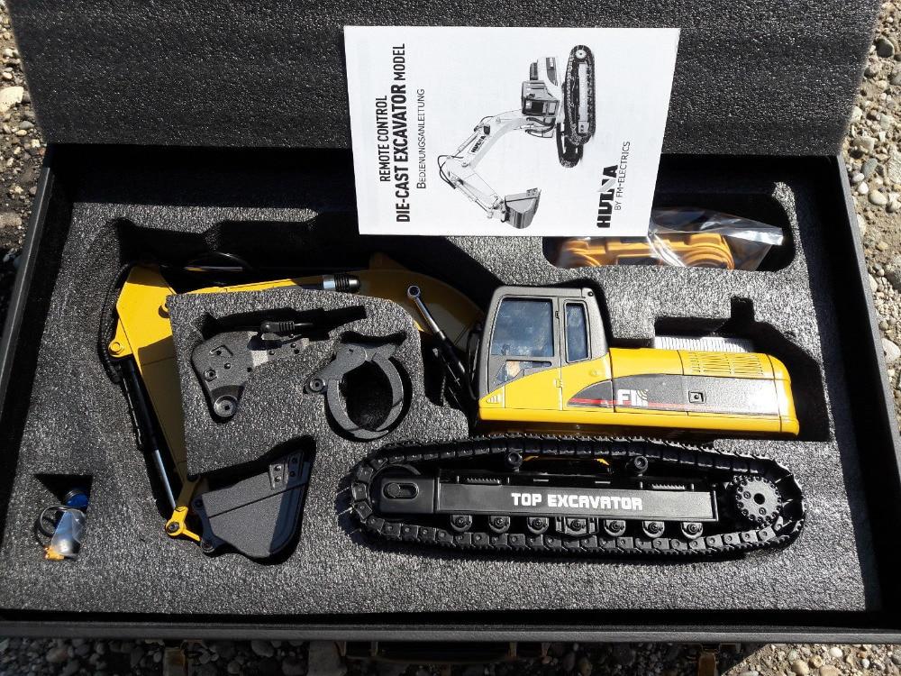Excavadora de orugas de control remoto Huina 1580 1:14 Modelo de metal completo