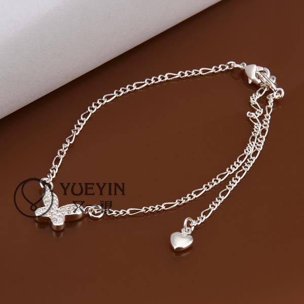 silver Butterfly ankle jewelry bracelet foot tornozeleira femininas foot chain ankle bracelets anklets for women shoes woman
