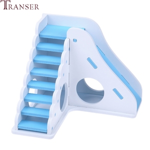 Image 3 - Transer Small Pet Hamster Toys Entertainment Sport House Hamster Wooden Toy Ladder Slide Small Animals Supply 90610