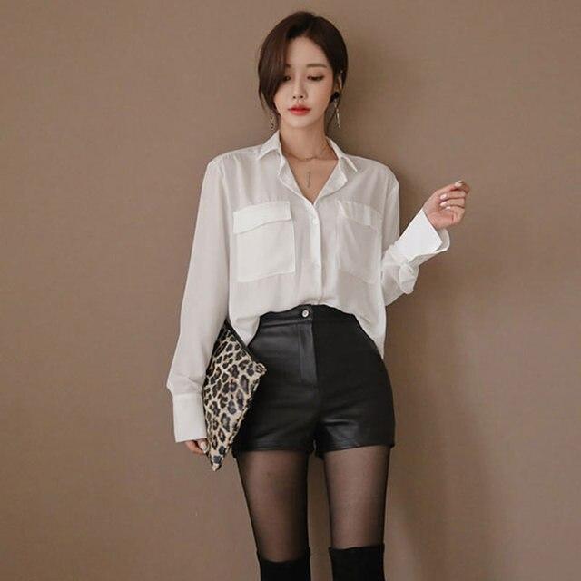 High Waist PU Leather Shorts Korean Fashion Black Spring Autumn Women Shorts Cool Skinny Work Party Wear Female Shorts 5