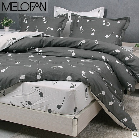 new 2016 modern music note bedding set 100 cotton duvet cover comforters 4pc queen full bed. Black Bedroom Furniture Sets. Home Design Ideas