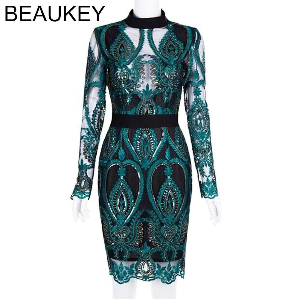 Embroidery Sequin Long Sleeve 2018 Women's New Fashion Party Dress Rayon Sexy Mini Length Bandage Dress