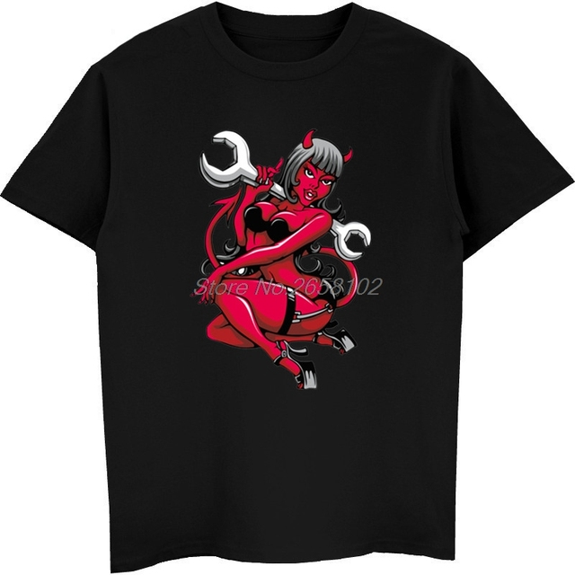 fashion t shirt devil pin up girl with big wrench punk style men s