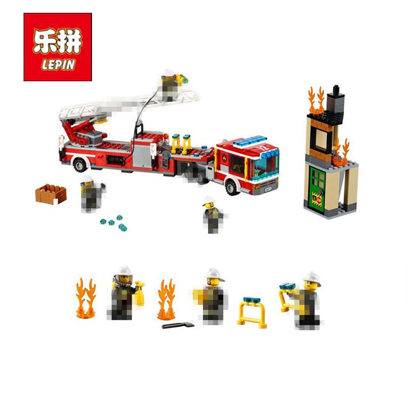 Lepin 02086 Gneuine 421PCS City Series The Fire Engine Set Building Blocks Bricks New Year Gift As Children Funny Gift Kid`s Toy dhl lepin 02020 965pcs city series the new police station set model building set blocks bricks children toy gift clone 60141