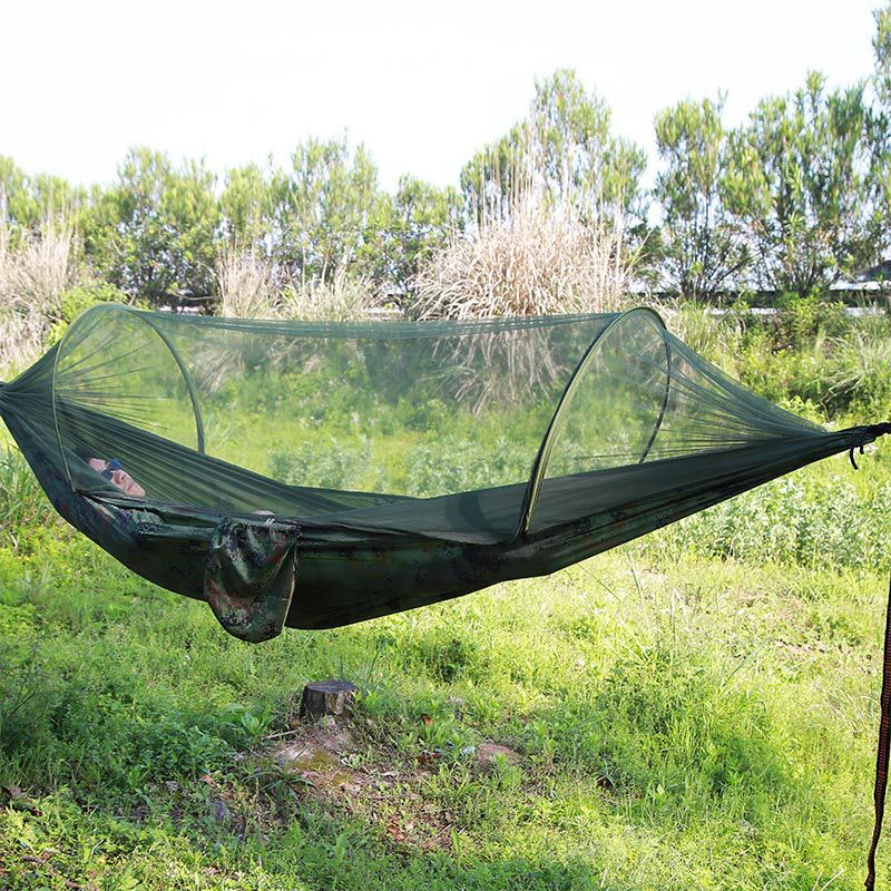 Portable Outdoor Camping Hammock with Mosquito Net Parachute Fabric Hammocks Beds Hanging Swing Sleeping Bed Tree Tent sgodde assorted color hanging sleeping bed parachute nylon fabric outdoor camping hammocks double person portable hammock