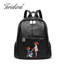 Teridiva Вышивка Рюкзак Женщины мультфильм сумка мягкая женская Back Pack из искусственной кожи рюкзак высокая школьные сумки для девочек-подростков
