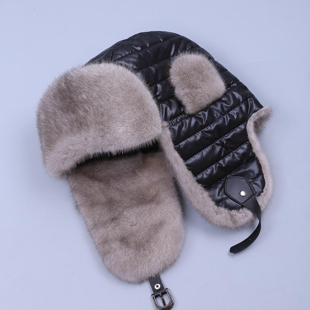Унисекс Мех животных шапка из натурального меха норки русский шапки-ушанки зима толстые теплые уши Мода бомбер человек для женщи