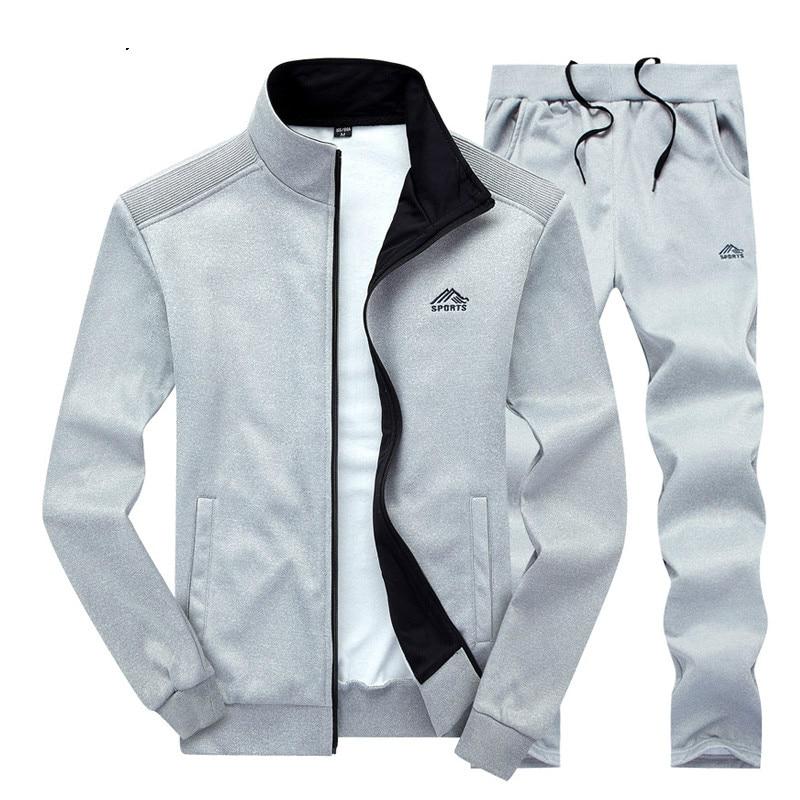 Men 2019 Man Sweatpants Track Suit Spring Autumn Sweatshirt Zipper Hoodies Jacket And Pants Two Piece Sweat Set Casual