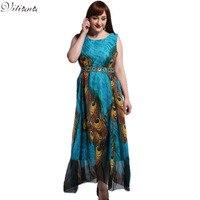 2016 Womens Summer Elegant Beach Chiffon Sundress Bohemian Peacock Maxi Long Party Dress Plus Size M