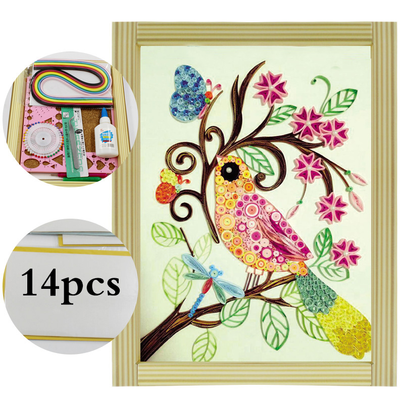 US $12.82 39% OFF 16 colorful Quilling Paper Craft Kits 14Pcs Tool set  Rolling Strips DIY Collection Home Decoration Crafts two birds  Decorating-in ...