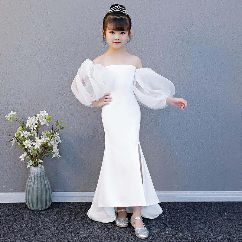 Luxury White Flower Girl Dresses Wedding Off the Shoulder Evening Gowns Lantern Sleeve Small Trailing Kids Pageant Dress B430