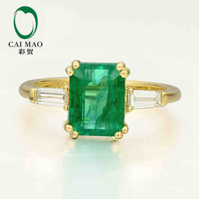 цены CaiMao 1.96 ct Natural Emerald 18KT/750 Yellow Gold 0.25 ct Full Cut Diamond Engagement Ring Jewelry Gemstone colombian