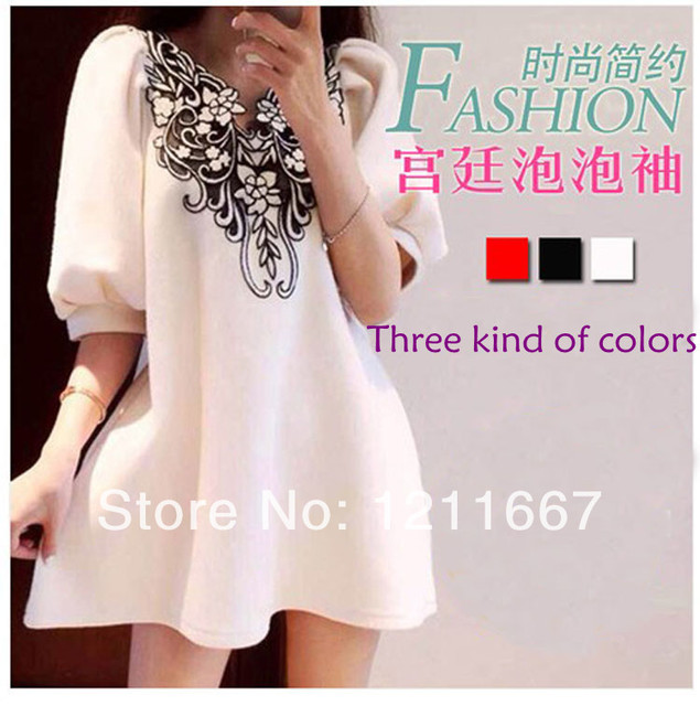 Free delivery of summer 2016 new maternity dress tide fashion V collar women dress embroidery palace Hubble bubble sleeve blouse