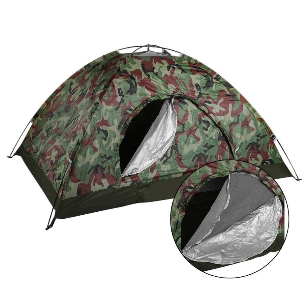 Outdoor Portable Single Layer Camping Tent Wigwam Camouflage 2 Person Waterproof Lightweight Beach Fishing Hunt