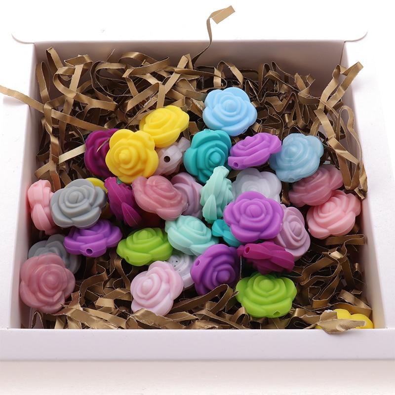 20pcs Mini Rose Silicone Flower Baby Teether Beads BPA Free Newborn Teething Necklace Bracelet Fitting DIY Binfant Nursing Gifts