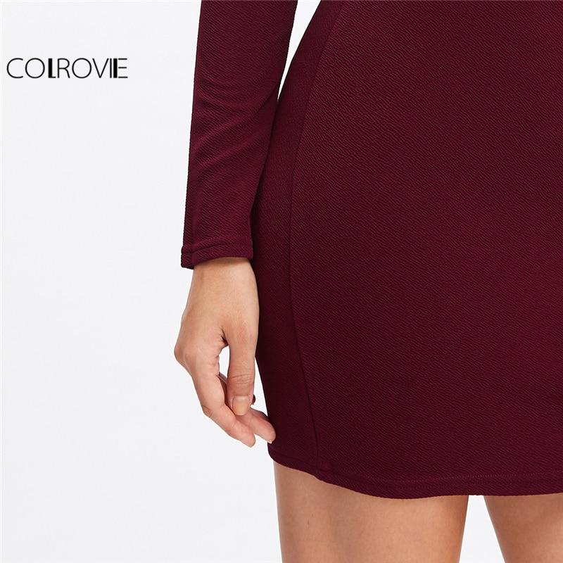5dd67ef31 COLROVIE Mini vestido manga larga Mujer Otoño Invierno mujeres Sexy  vestidos de fiesta Borgoña hombro volantes vestido Bodycon en Vestidos de  La ropa de las ...