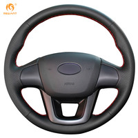 Kia K2 2011 2012 Kia Rio Steering Wheel Cover Car Special Hand Stitched Black Genuine Leather