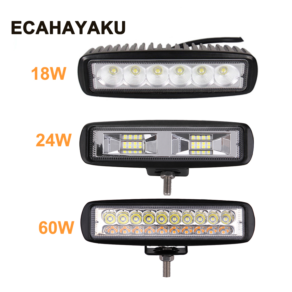 ECHAYAKU 6 Inch 18W 24W 60W LED Work Light Bar 12V 24V Motorcycle Off Road 4x4 ATV Daytime Running Light Truck Tractor Spotlight