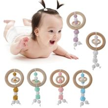 Baby Toys Teething Wooden Ring Can Chew Silicone Beads Baby Rattles Play Gym Montessori Stroller Toys 80mm wooden baby rattle toys beech wood round hand montessori toy teether wooden ring play gym baby chew stroller must have toys