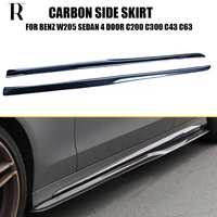 W205 Carbon Fiber Side Skirt for Benz W205 S205 C180 C200 C300 C43 C63 Sedan & Wagon Auto Racing Car Side Bumper Skirts 15 22