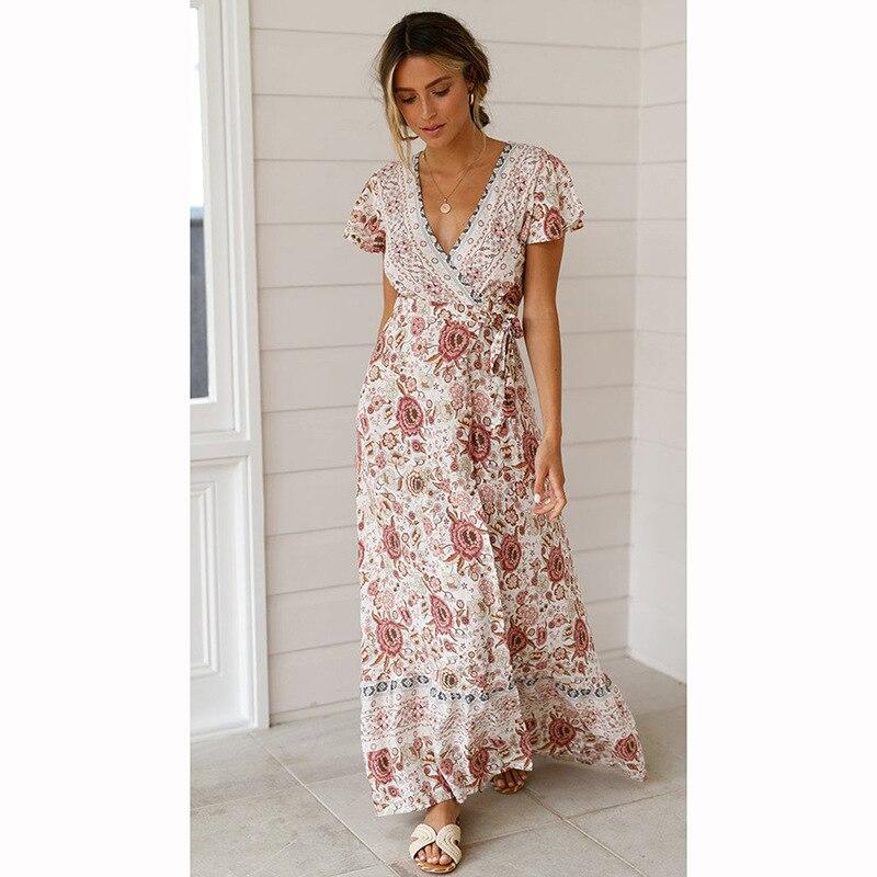 ZOGAA Women Summer Boho Beach Dress Ladies V Neck Floral Print Elegant Sundress Evening Party Dress Bohemian Long Split Vestidos in Dresses from Women 39 s Clothing