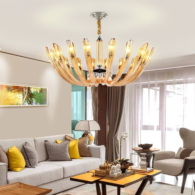 Crystal Stained Glass Petals Chandelier Pendant Lights