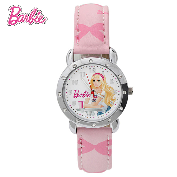 100% Genuíno relógio Barbie para crianças rosa Moda relógio relogio feminino relógio relógio pulseira de couro mulheres homens BA00101-1