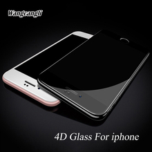 4D 9H Curved Edge Full Cover Tempered Glass For iPhone 7 Premium Screen Protector For iphone 7 plus 6 6s plus Protective  glass premium tempered glass flat edge screen protector for iphone 5 transparent