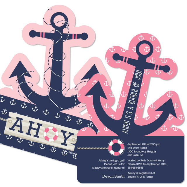 12pcs ahoy nautical girl party invitations baby shower party 12pcs ahoy nautical girl party invitations baby shower party supplies personalized girl party invitation cards filmwisefo