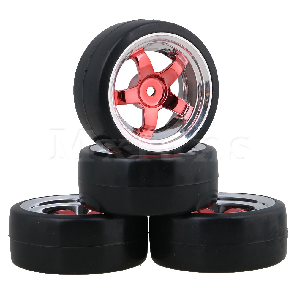 Mxfans 4pcs 12MM Red Wheel Rims and Drift Smooth Tyres RC 1:10 for On Road Racing Car mxfans 4 pcs aluminum alloy wheel felloe rc 1 10 on road rimmer black wheel rims