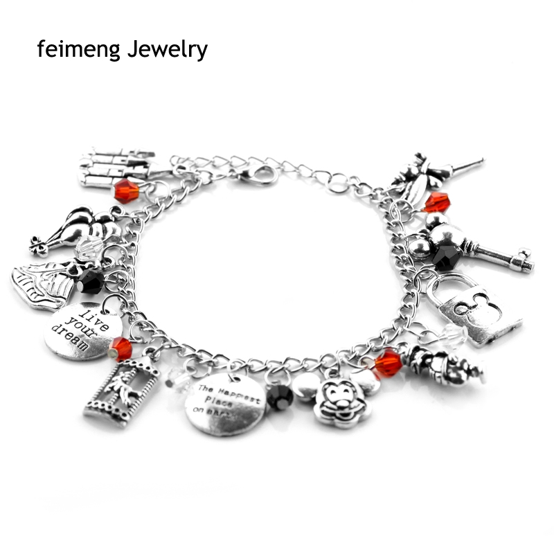 The Happiest Place on earth,Live Your Dream Alloy Pendent Crystal beads Bracelet bangles Gift For Woman Gril Fashion Jewelry